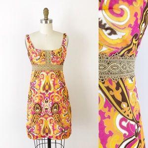 Milly Pink & Orange Paisley Mini Dress Retro H539